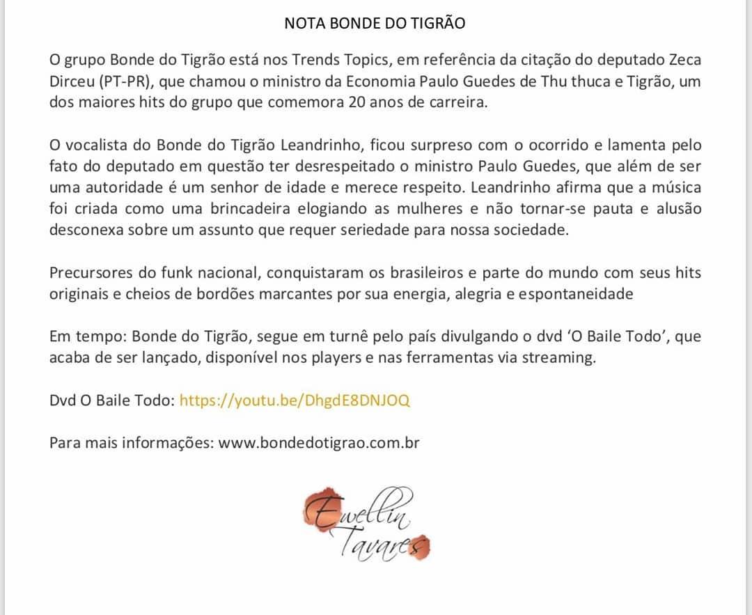 Bonde do Tigrão - Declaração oficial