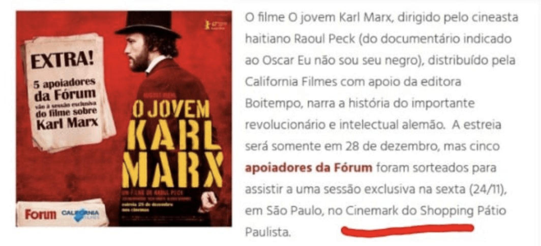 Cinemark exibe filme Jovem Marx