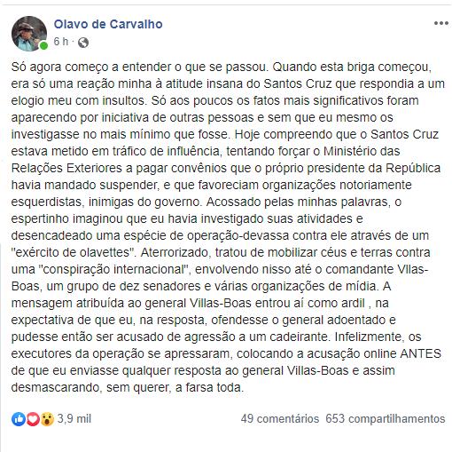 Olavo de Carvalho - Santos Cruz - Apex - Leticia Cantelani - Villas Boas - Ernesto Araújo