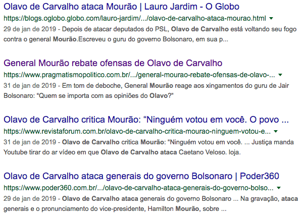 Santos Cruz, Hamilton Mourão, Bolsonaro, Olavo de Carvalho, Bolsonaro