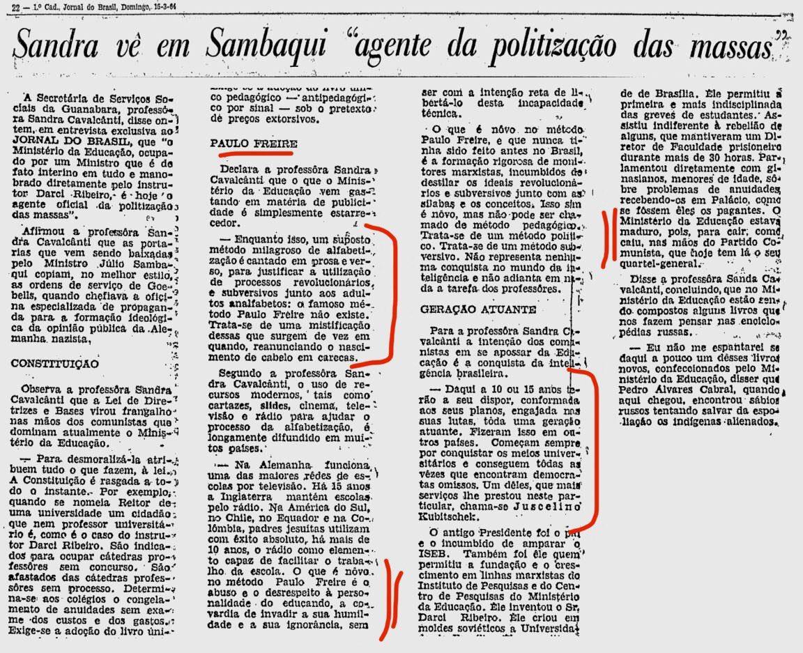 1964, Paulo Freire, Cavalcanti, embuste