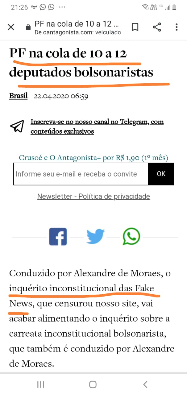 Antagonista inquérito inconstitucional Moro Bolsonaro