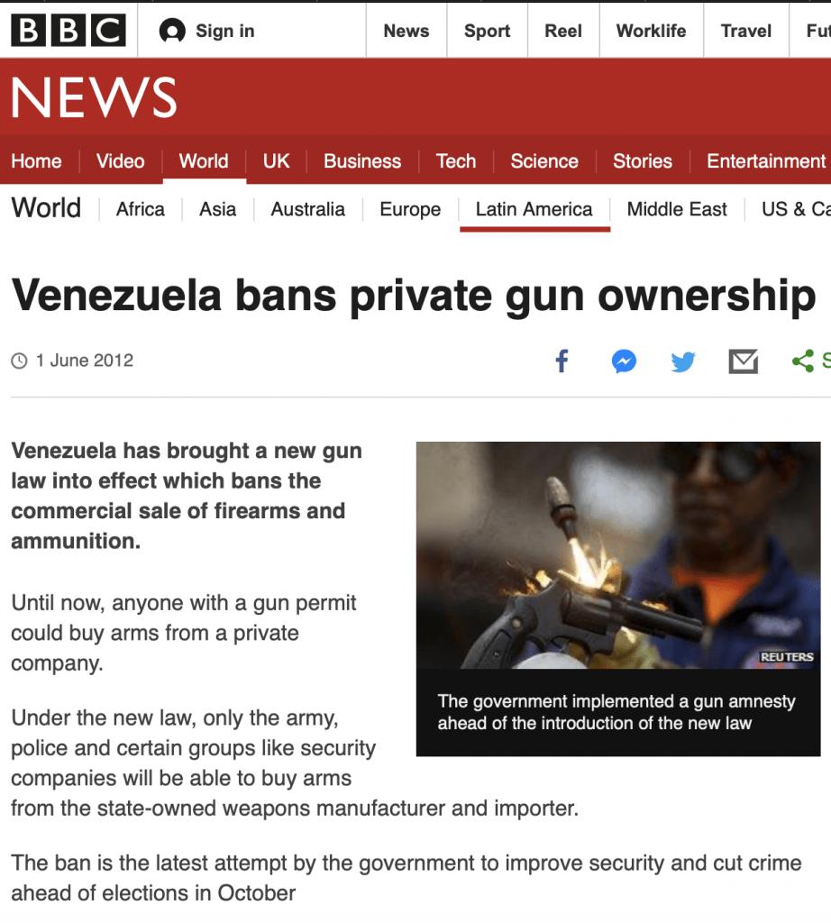 BBC desarmamento na Venezuela