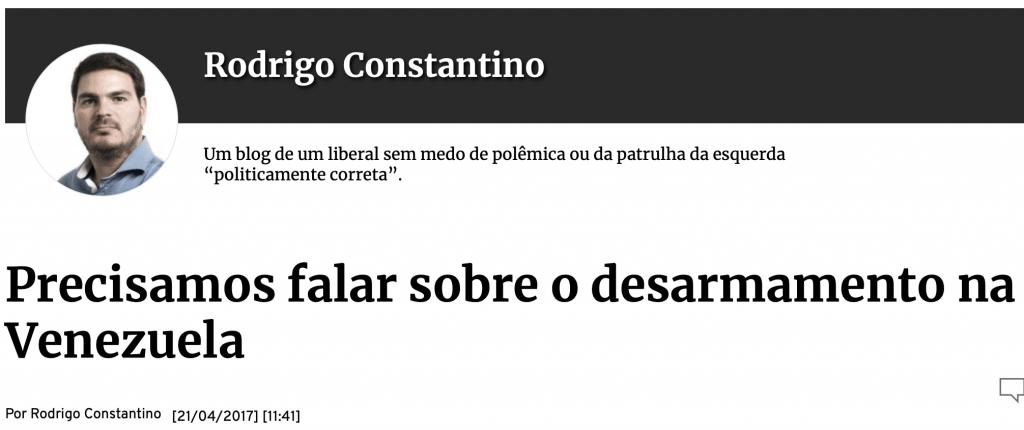 Gazeta do Povo Rodrigo Constantino desarmamento na Venezuela