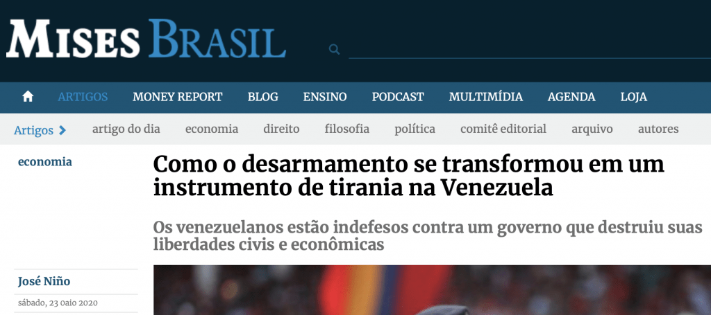 Instituto Mises desarmamento na Venezuela