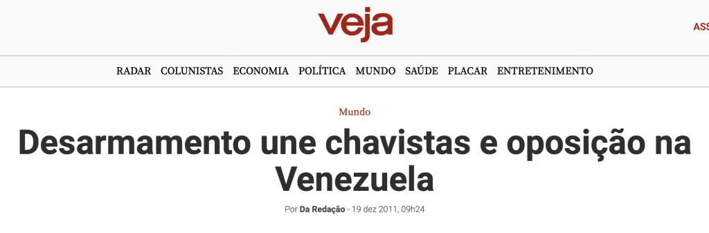 Veja desarmamento na Venezuela