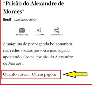 O Antagonista, Alexandre de Moraes, Hashtags