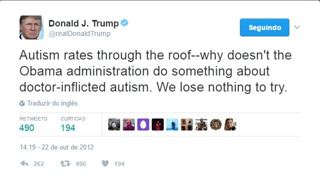 Donald Trump tweeta sobre autismo