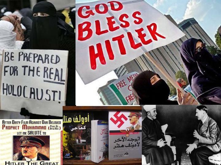 Islâmicos / Muçulmanos pregam amor a Hitler, negam o Holocausto e usam suásticas.