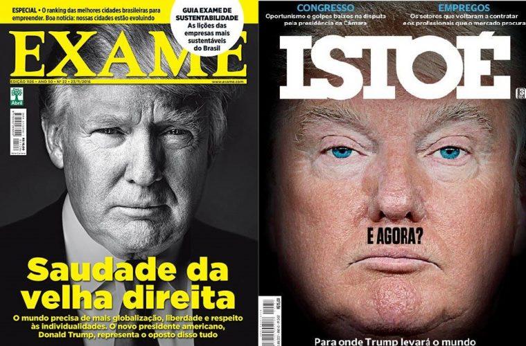 Capas de Exame e Istoé com Donald Trump e comparação a Adolf Hitler