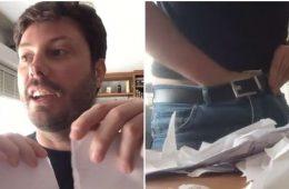 Danilo Gentili esfrega carta de Maria do Rosário no saco