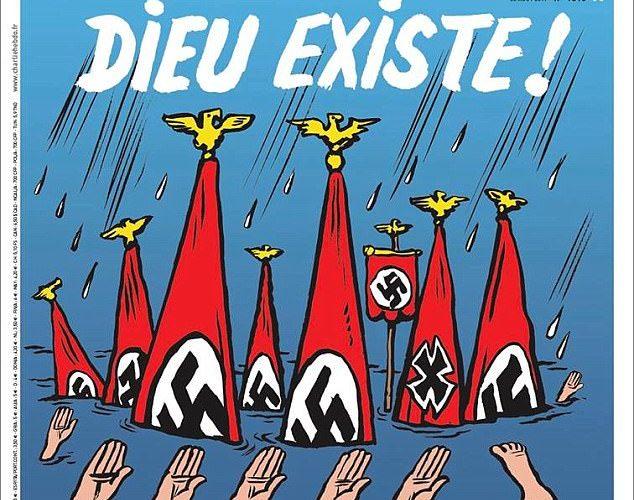 Charlie Hebdo pinta vítimas do furacão Harvey no Texass como neonazistas.