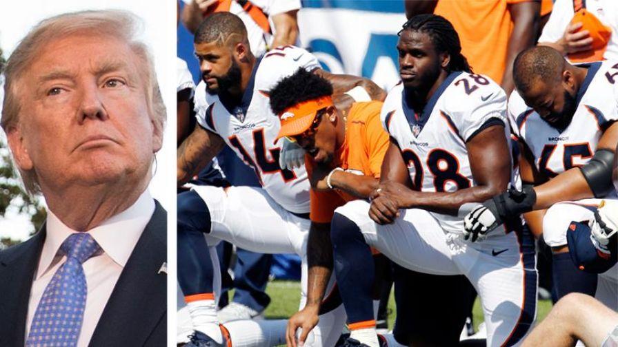 Donald Trump vs NFL ajoelhando-se durante o hino americano