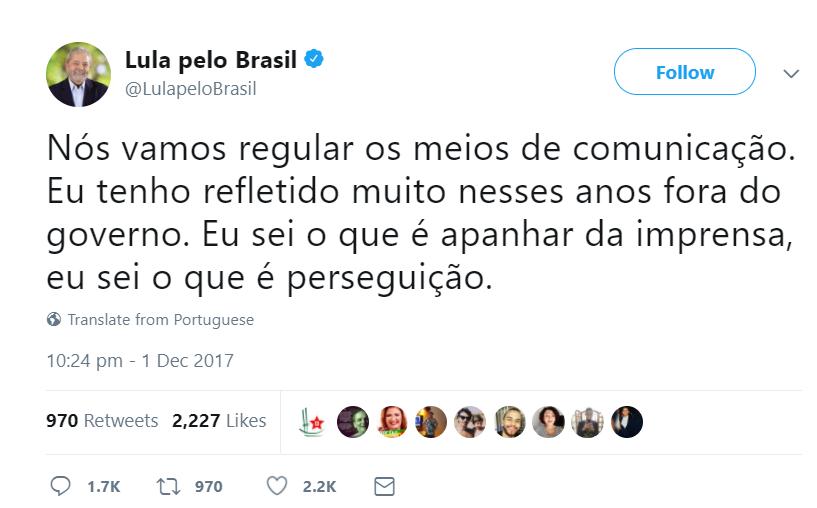 Lula ameaça regulamentar a mídia