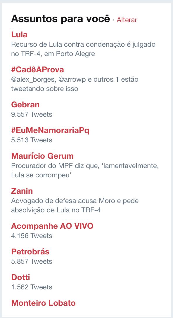 Hashtag LulaNaCadeia some dos Trending Topics do Twitter