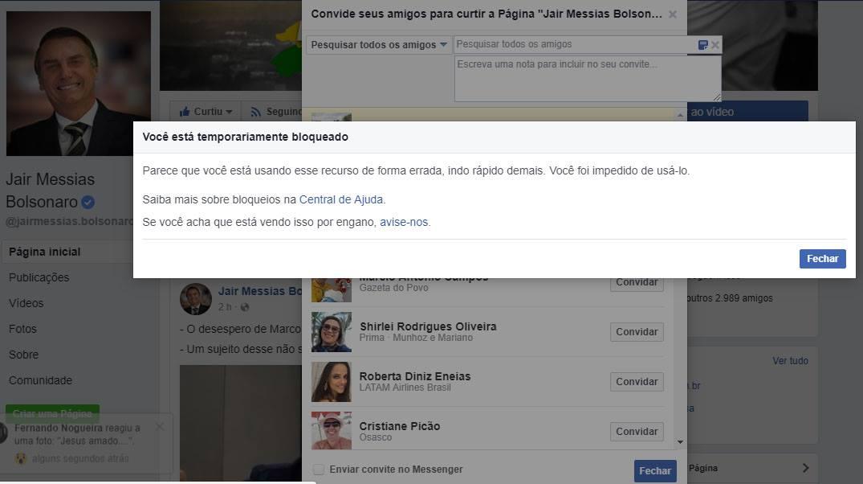 Página de Jair Bolsonaro no Facebook - não é possível enviar convites para curtir