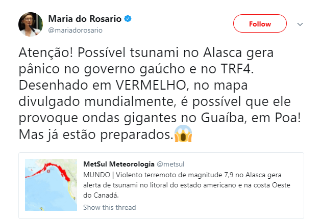 Maria do Rosário faz piada sobre tsunami no Twitter.
