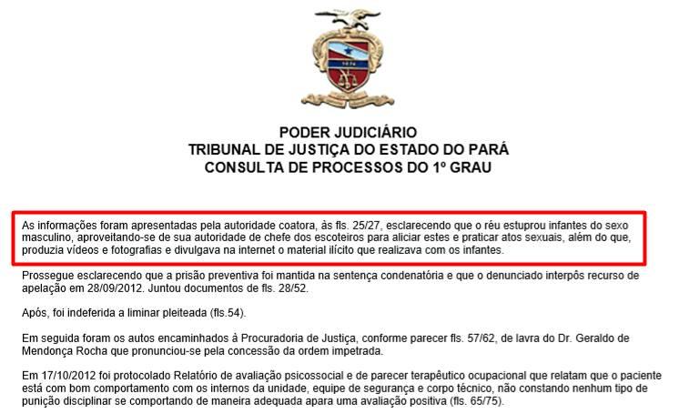 Processo do pedófilo Pedro Henrique Monteiro Araújo por pedofilia