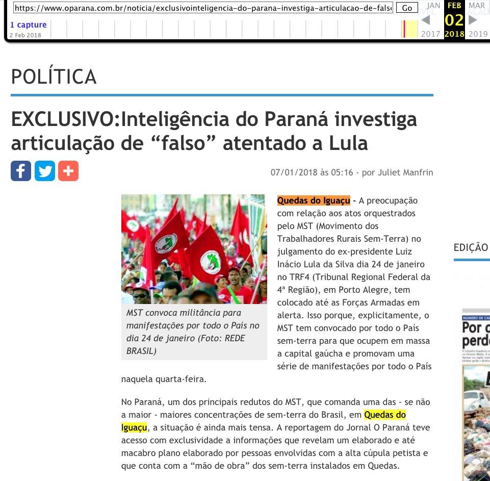 """Jornal """"O Paraná"""" alertou sobre falso atentado a Lula em Quedas do Iguaçu ainda em janeiro."""