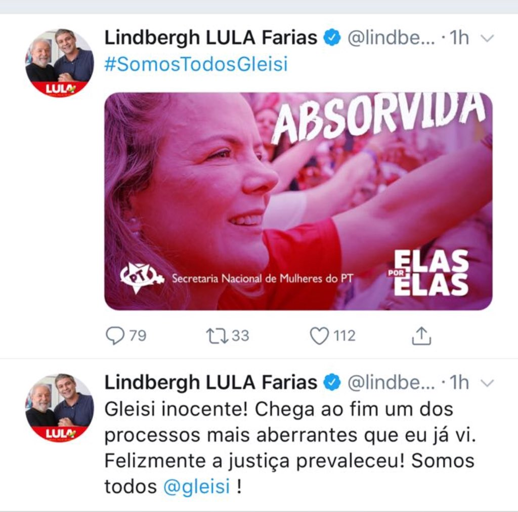 "Lindbergh Farias comemora impunidade no Twitter: Gleisi foi ""absorvida"""