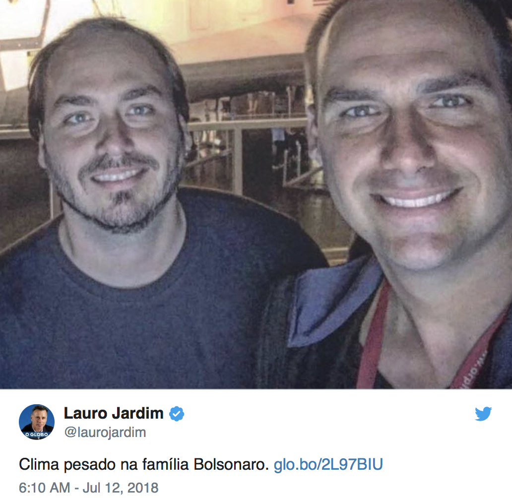 "Lauro Jardim ""clima pesado"" família Bolsonaro"