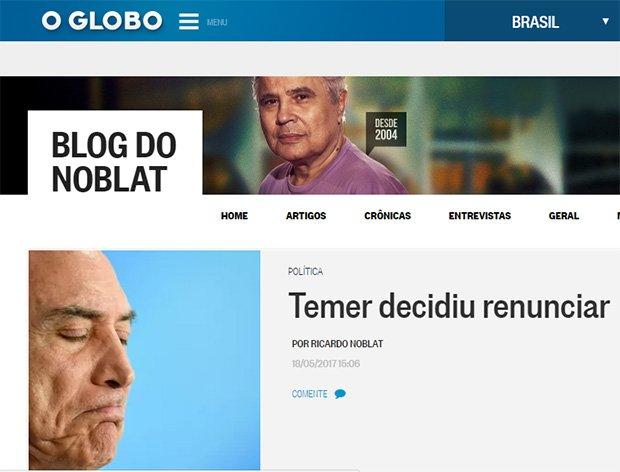 Ricardo Noblat espalha fake news sobre Temer renunciar