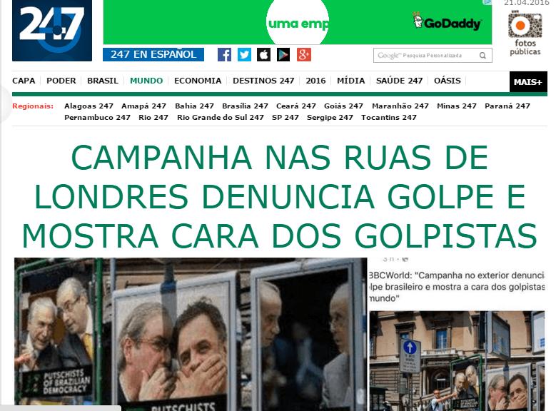 """Brasil 247 divulga fake news sobre """"campanha em Londres contra o 'golpe'"""""""