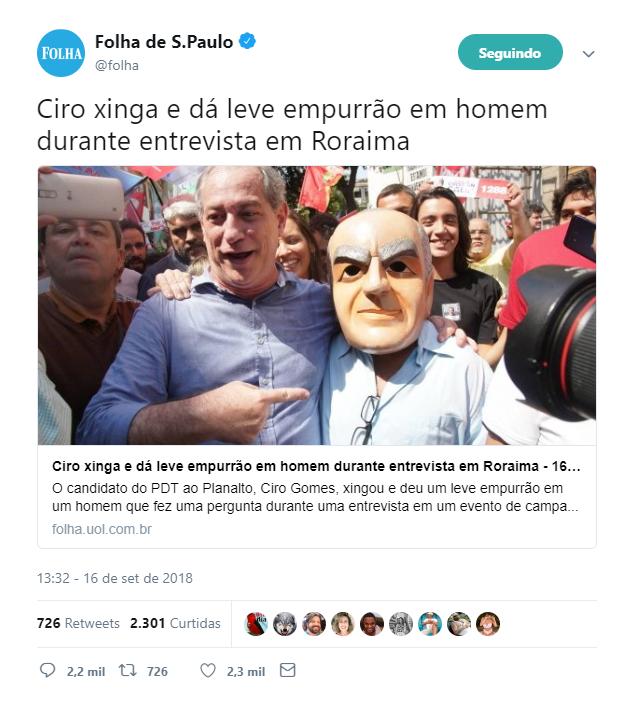 """Folha de S. Paulo diz que Ciro Gomes deu """"leve empurrão"""" em repórter"""