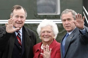george bush, barbara bush, china, mascaras