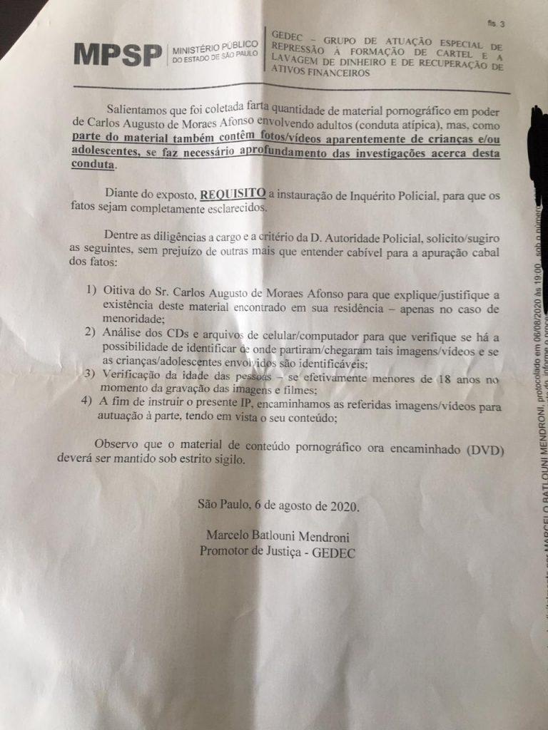 Requerimento a Luciano Ayan pelo MP-SP por possível posse de pornografia infantil